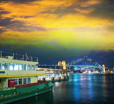 Sydney Harbour at night, Australia. photo