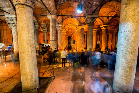 ISTANBUL - SEPTEMBER 16: Underground Basilica Cistern, September, 2014 in Istanbul, Turkey. It is 143m long and 65m wide underground water container, the one of most popular tourist attraction