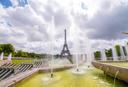 The Eiffel Tower on a beautiful summer day as seen from Trocadero Gardens. photo