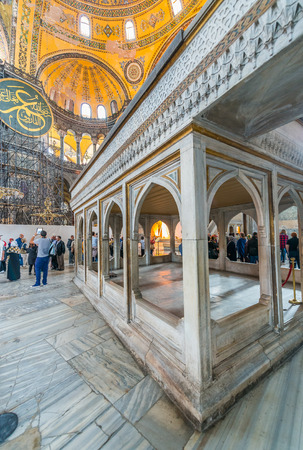 hagia: The Hagia Sophia (also called Hagia Sofia or Ayasofya) interior architecture, famous Byzantine landmark and world wonder in Istanbul, Turkey.