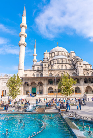 eminonu: ISTANBUL, TURKEY - SEP 19: Yeni Cami, The New Mosque in Istanbul on September 19, 2014.The construction of the mosque first began in 1597 and finished in 1663