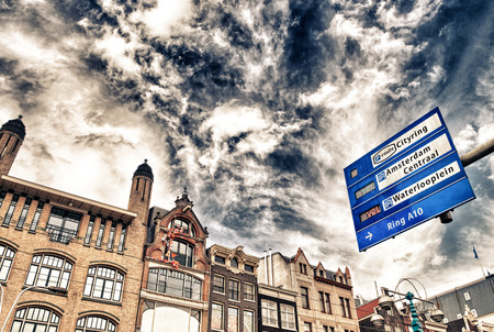 Amsterdam. City streets signs and directions.