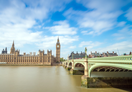 Thames river and Westminster bridge on a beautiful London sunny day, long time exposure. photo