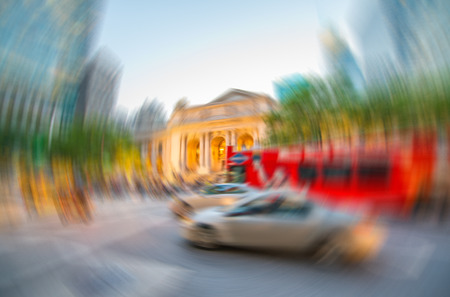 fifth: Blurred scene of New York traffic in Manhattan Fifth Avenue. Stock Photo