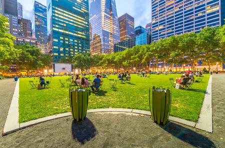bryant park: Bryant Park summer lights in Manhattan - New York City.