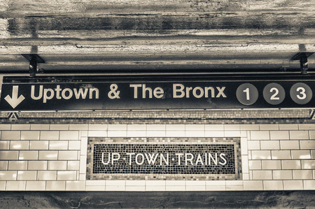 Uptown and The Bronx subway sign in New York City.