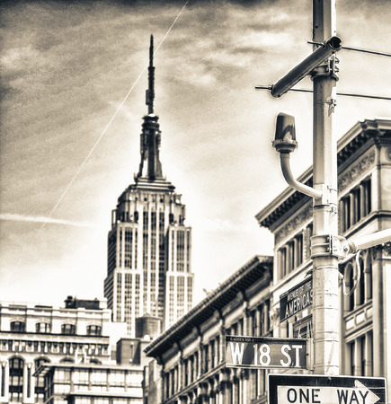 street signs: Street signs and buildings of New York.