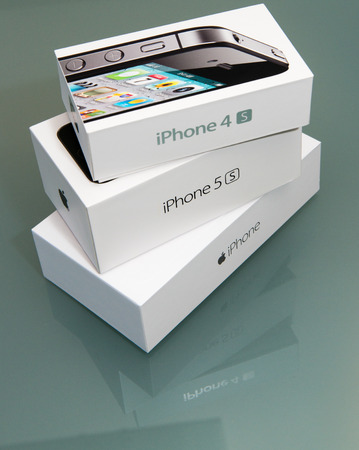 4s: PISA, ITALY - NOVEMBER 19, 2014: Iphone 4s, 5s and 6plus original boxes. Pre-orders of the iPhone 6 series exceeded 4 million within its first 24 hours of availability. Editorial