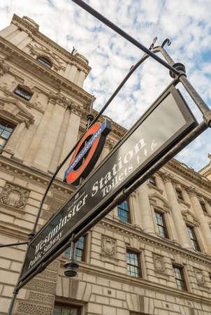 kilometres: LONDON - AUG 21, 2013: Westminster underground subway sign. Underground system serves 270 stations and has 402 kilometres (250 mi) of track.
