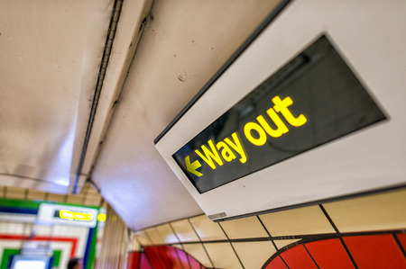 wayout: Way out sign on a underground station.