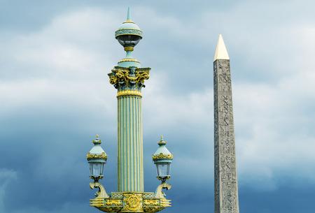 obelisk stone: Obelisk in Place de la Concorde against cloudy sky - Paris.