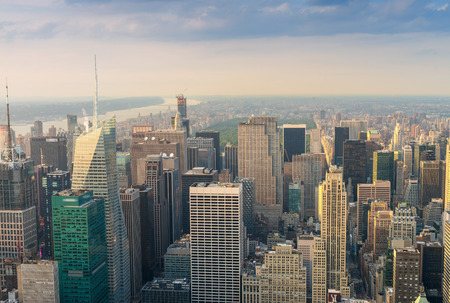 Spectacular aerial view of Manhattan. Skyscrapers at dusk. photo