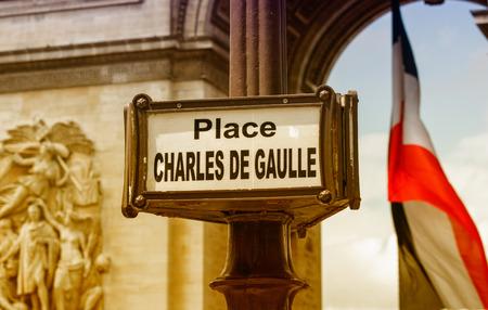 gaulle: Place Charles de Gaulle sign in Paris.