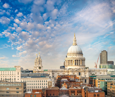 magnificence: London skyline with St. Paul Cathedral magnificence at sunset. Stock Photo