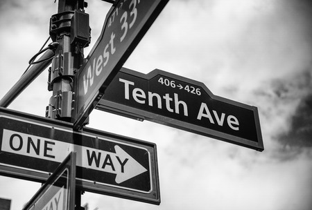 Street sign at the corner of 10th ave and 33rd st, Manhattan.