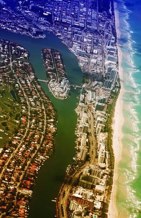 indian creek: Miami Beach aerial view. Indian Creek waterway and Allison Island.