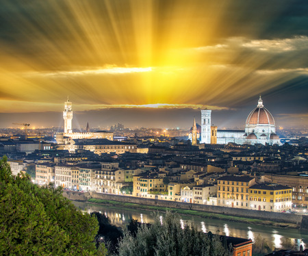 Florence (Firenze) night skyline with Palazzo Vecchio and Duomo , Tuscany, Italy.
