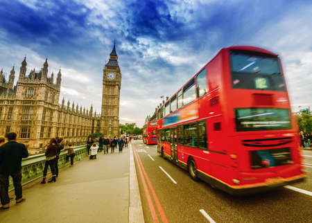 Red Double Decker bus and Big Ben, symbols of London.