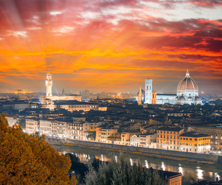Florence (Firenze) sunset skyline with Palazzo Vecchio and Duomo , Tuscany, Italy.