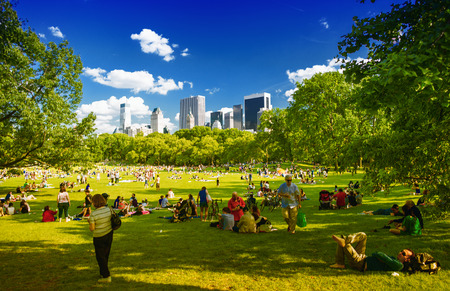 CENTRAL PARK, NEW YORK - JUNE 14, 2013: People enjoy outdoor life under park trees. Central Park is a public park at the center of Manhattan, which opened in 1857, on 778 acres of city-owned land.