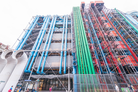 georges: PARIS, FRANCE - JUNE 16, 2014: The Pompidou cultural center in Paris, France. The Centre Georges Pompidou was designed in style of high-tech architecture