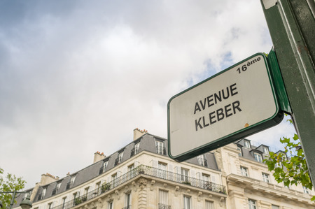 Paris, France. Street sign in Avenue Kleber photo