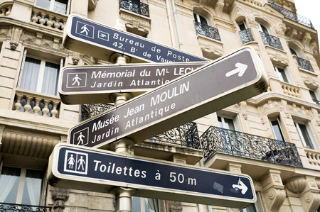 Paris, France. Street directions and signs. photo
