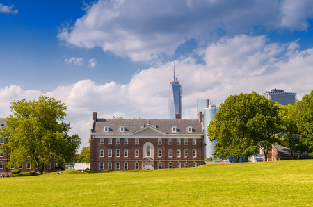 williams: Governors Island with Manhattan skyline on background.