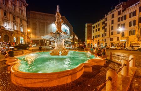 fontana: Piazza del Tritone with fountain. Rome at night. Stock Photo