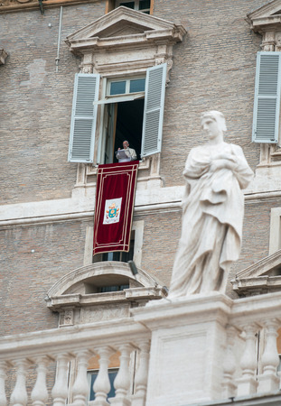 st peter s square: VATICAN - MAY 18: Pope Francis I, born Jorge Mario Bergoglio, during the angelus prayer at the Vatican, 18th May 2014.