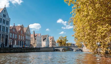 bruges: Beautiful medieval architecture of Bruges, Belgium. Stock Photo