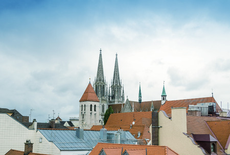 regensburg: Beautiful medieval architecture of Regensburg, Germany.