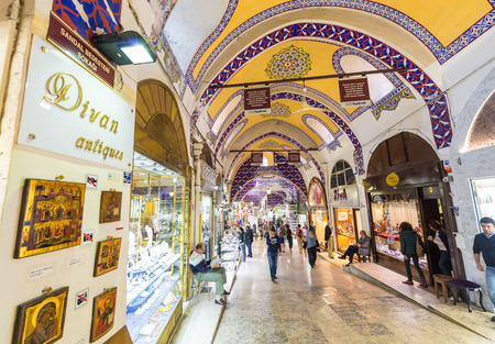 kapalicarsi: ISTANBUL, TURKEY - SEP 15: Grand Bazaar on September 15, 2014 in Istanbul, Turkey. Its one of the largest and oldest covered markets in the world, with 61 covered streets and over 3,000 shops