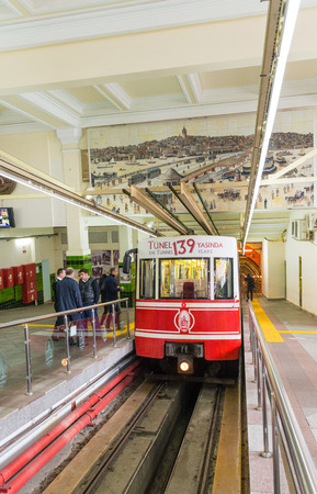 beyoglu: ISTANBUL - OCTOBER 27, 2014: Istanbul tunnel train in Beyoglu. This one-stop funicular climbs the steeply uphill for 500 meters from Karakoy to Tunnel Square.