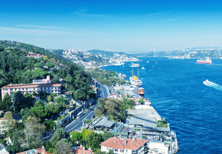rumeli: Roads and buildings of Istanbul over Golden Horn river.