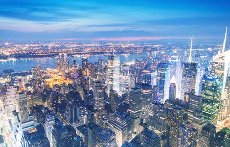 aerial: New York. Manhattan night skyline.