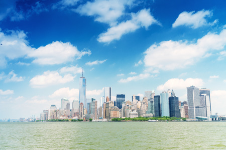 magnificence: Magnificence of Downtown Manhattan skyline - New York City. Stock Photo