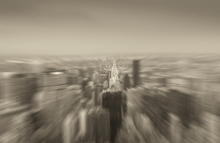 zoomed: Zoomed blurred picture of New York City night skyline. Stock Photo