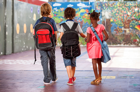female back: Back view of school mates walking on the schoolyard. Multi ethnic classroom. Stock Photo