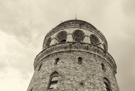 magnificence: Magnificence of Galata Tower as seen from the street - Beyoglu, Istanbul.