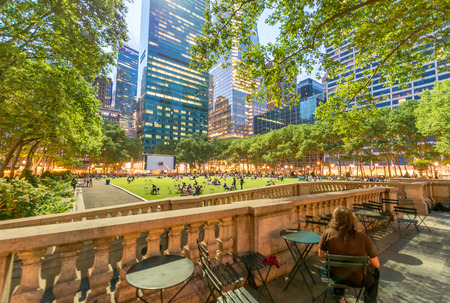 outdoor dining: Outdoor dining area in Bryant Park, NYC.