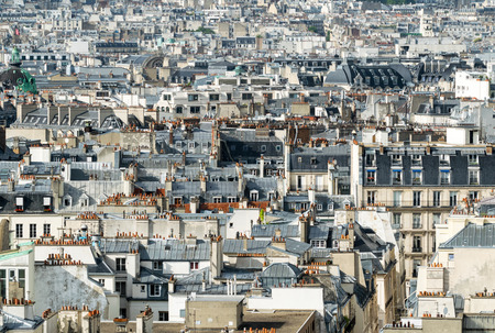 arial views: Classic Parisian buildings. Aerial view of roofs.
