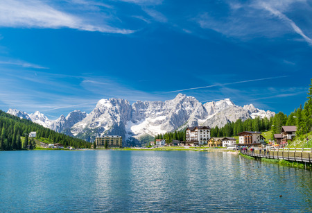 lake misurina: Lake of Misurina, Italian Dolomites in summer. Stock Photo