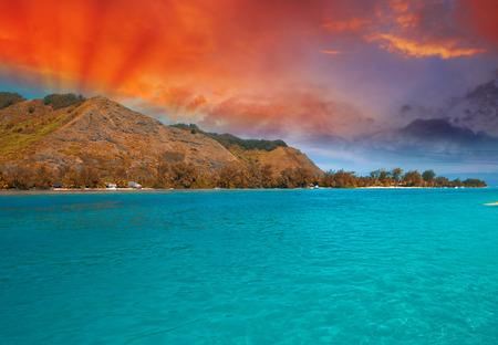 otemanu: Polynesia Islands, wonderful seascape with sunset and mountains.
