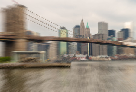 zoomed: Zoomed and blurred image of Brooklyn Bridge, New York City. Stock Photo
