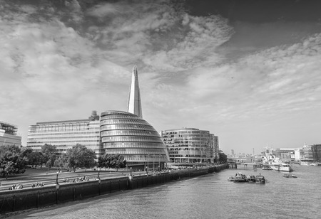 london skyline: London buildings along river Thames. Stock Photo