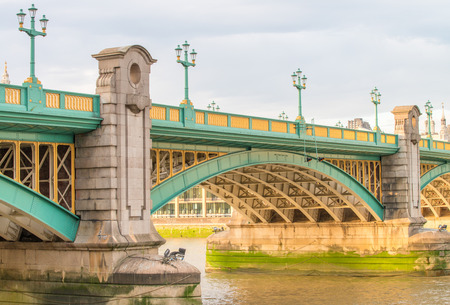 southwark: Section of Southwark Bridge, over River Thames, London.