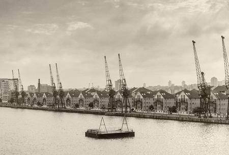 docklands: London Docklands, aerial view.