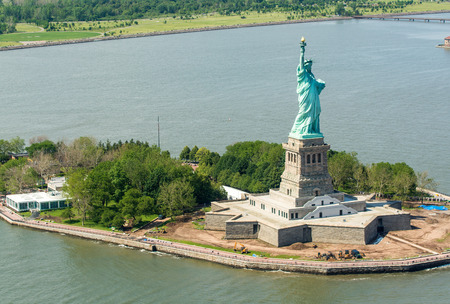 liberty island: Helicopter view of Statue of Liberty.