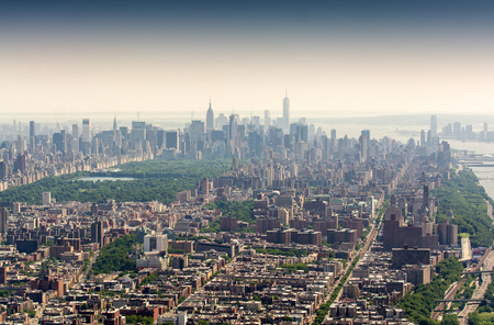 uptown: Helicopter view of Uptown, Midtown and Lower Manhattan, New York City. Stock Photo